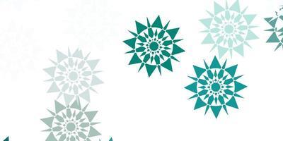 textura vector azul claro verde com flocos de neve brilhantes