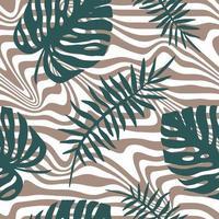 fundo branco com folhas tropicais azuis e listras cinza vetor
