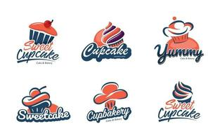 conjunto de logotipo de bolo e padaria vetor