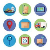 conjunto de ícones de serviço de logística de entrega vetor