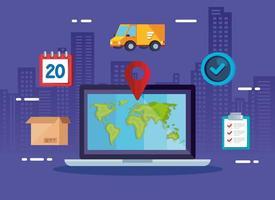 serviço de entrega de logística com laptop e ícones vetor
