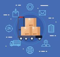 serviço logístico de entrega com caixas e ícones vetor