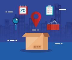 serviço logístico de entrega com caixa e ícones vetor