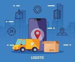 serviço de entrega de logística com caminhão e ícones vetor