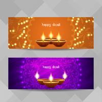 Conjunto de bandeiras religiosas feliz Diwali abstrata