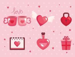 conjunto de ícones fofos para feliz dia dos namorados vetor