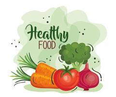 cartaz de comida saudável com cenoura e vegetais vetor