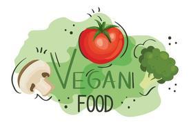 pôster de comida vegana com tomate e vegetais vetor