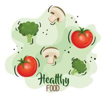 cartaz de comida saudável com tomates e vegetais vetor