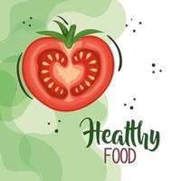 pôster de comida vegana com tomate vetor