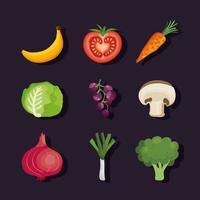 conjunto de vegetais e frutas vetor