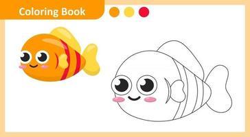 livro para colorir peixes vetor