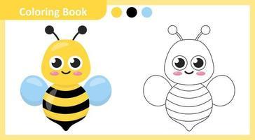 abelha livro para colorir vetor