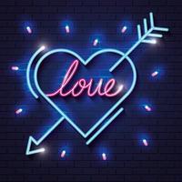 coração com letras de amor por luzes de néon vetor