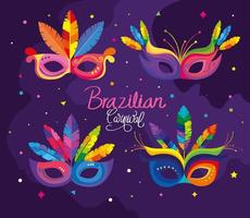 pôster do carnaval brasileiro com máscaras vetor