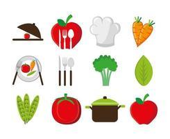 conjunto de talheres com vegetais e ícones vetor