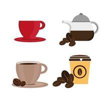 Pacote de café de conjunto de ícones vetor