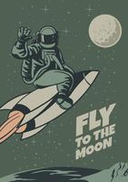 Poster de viagens da lua do vintage