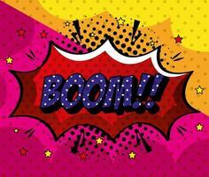 boom expressão sinal estilo pop art vetor