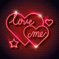 letras de ame-me com corações de luzes neon vetor