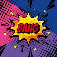bang expressão sinal estilo pop art vetor
