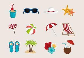 agrupar férias de verão com ícones definidos vetor