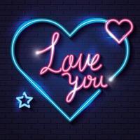 letras de amor com corações e estrelas de néon vetor