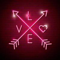 flechas com letras de amor de luzes de néon vetor