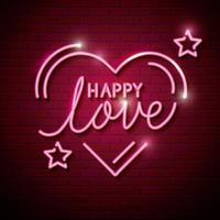 amor feliz com coração e estrelas de luzes neon vetor