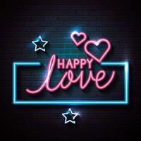 amor feliz com corações e estrelas de luzes de néon vetor