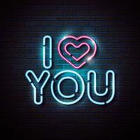 letras de amor com coração de luzes de néon vetor