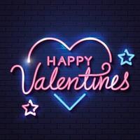 feliz dia dos namorados com coração e estrelas de néon vetor