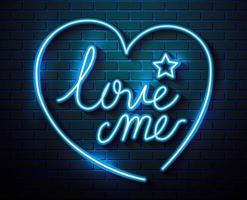 letras de amor com coração e estrela de néon vetor