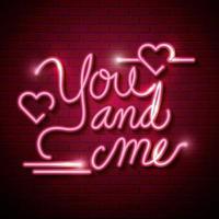 letras minhas e de você com corações de luzes de néon vetor