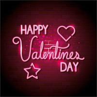 feliz dia dos namorados com coração e estrela de néon vetor