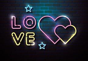 letras de amor com corações de luzes de néon vetor