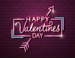 feliz dia dos namorados com seta de luzes de néon vetor