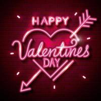 feliz dia dos namorados com coração de luzes de néon vetor