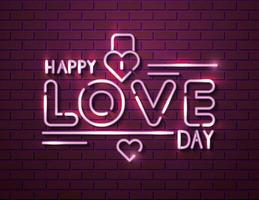 feliz dia de amor com cadeado de luzes neon vetor