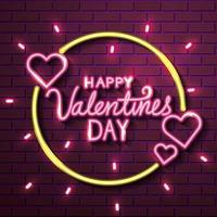 feliz dia dos namorados com corações de luzes neon vetor