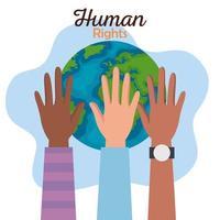 direitos humanos com mãos de diversidade e design de vetor mundial