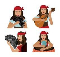 grupo de personagem cigana avatar feminino vetor