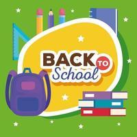 faixa de volta às aulas com mochila e material escolar vetor