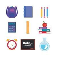 conjunto de material escolar e educacional vetor