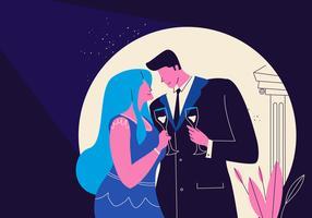 Casal romântico em roupas de formatura Vector plana ilustração