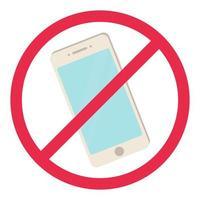 nenhum sinal de telefone vermelho smartphone regra proibida símbolo desligar telefone não permitido conceito estoque vetor iilustration em estilo cartoon, isolado no branco