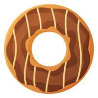 donut brilhante com chokolate esmalte e caramelo sem dieta dia símbolo alimentos pouco saudáveis doce fastfood açúcar lanche calorias extras conceito estoque ilustração vetorial isolado no fundo branco em estilo cartoon vetor