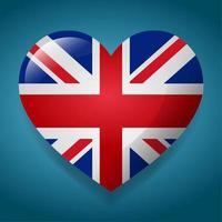 coração com ilustração do símbolo da bandeira do Reino Unido vetor