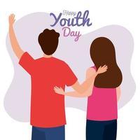 feliz dia da juventude jovem casal jovem e homem juntos para a celebração do dia da juventude vetor