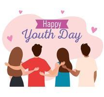 feliz dia da juventude, adolescentes se reúnem para celebrar o dia da juventude vetor